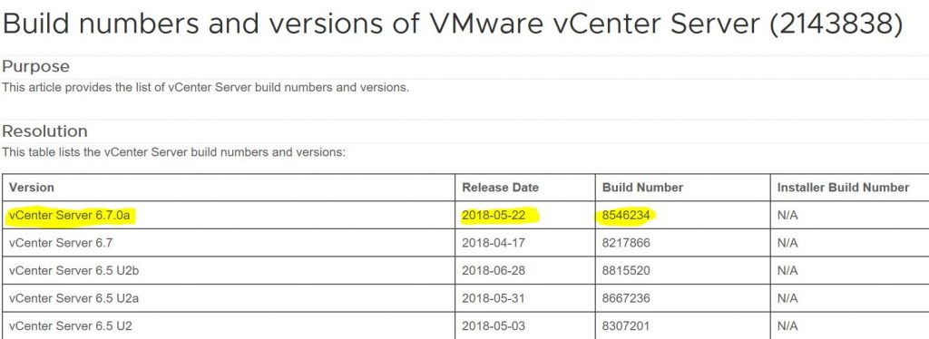 vCenter versions